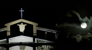 Stock Video Footage of Moonlight shines down on a South Pacific church