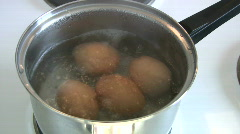 Boiling eggs - stock footage
