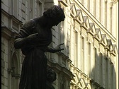 Stock Video Footage of Vienna Statue and walkway
