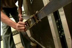 Man tightens belt Stock Footage
