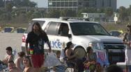 Beach Cops On Patrol 01 Stock Footage