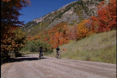 Bikers on mountain trail Stock Footage