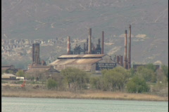 Energy plant near mountains Stock Footage