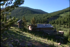 Old cabin in mountains Stock Footage