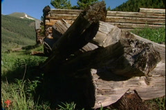 Mountain logs and valley Stock Footage