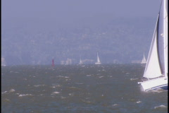 People in sailboat Stock Footage