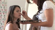 Stock Video Footage of HD1080i Make-up for a young attractive brunette woman