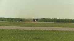 military, F15 Eagle fighter jet takeoff, #13 afterburners lit - stock footage