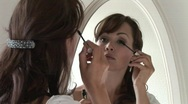 HD1080i Make-up for a young attractive brunette woman Stock Footage