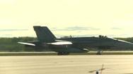 Military, F18 Hornet fighter jet taxi follow shot medium tight Stock Footage