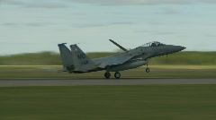 Military, F15 Eagle fighter jet landing speed brake deployed, angle Stock Footage