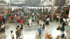 Rome termini train transport station people crowds travel Stock Footage
