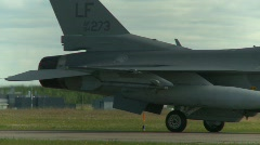 military, F16 Falcon fighter jet taxi, #5 rear fuselage - stock footage