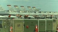 Military, F16 Falcon fighter jets lined up on apron Stock Footage