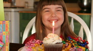 Stock Video Footage of Girl and Birthday Cupcake