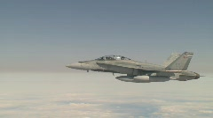 military aerial, F18 Hornet fighter jet in flight, medium frame - stock footage