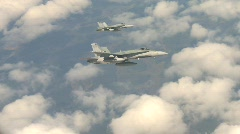 Military aerial, F18 Hornet fighter jets in flight, nice clouds, banking Stock Footage