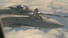 military aerial, F18 Hornet fighter jet in flight refueling, #8 tight framing - stock footage