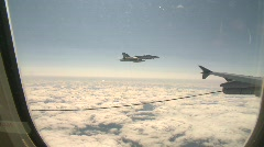 Military aerial, F18 Hornet fighter jet in flight framed Stock Footage