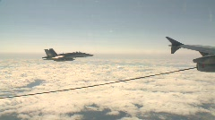 Military, F18 Hornet fighter jet sliding back out of frame Stock Footage