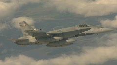 military aerial, F18 Hornet fighter jet in flight, banking - stock footage
