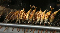 Roasted fish in open fire, Stock Footage