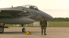 Military, F15 Eagle fighter jet begins taxi Stock Footage