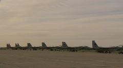 Military, F15 Eagle fighter jets on flightline, #1 Stock Footage