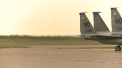 Military, F15 Eagle fighter jets, engine heat  Stock Footage