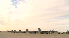 Military, F15 Eagle fighter jets on flightline, lots of sky Stock Footage