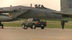 Military, F15 Eagle fighter jet, tight shot, ground crew working Stock Footage