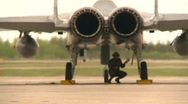 Stock Video Footage of military, F15 Eagle fighter jet, flaps and engine, Alphajets in bg