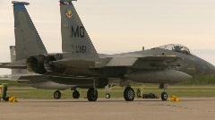 Military, F15 Eagle fighter jet on flight line, #2 Stock Footage