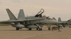 Military, F18 Hornet fighter jets on apron, line Stock Footage