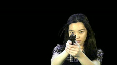 Pre keyed green screen Serious Asian female undercover cop or spy - 2 - stock footage