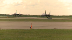 Military, F15 Eagle fighter jets taxing, medium long shot Stock Footage
