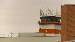 Air traffic control tower, #9 grey overcast day Stock Footage