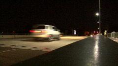 Car Cross Brigde At Night Stock Footage