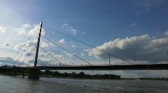 Stock Video Footage of Germany Dusseldorf highway expressway over river Rhein