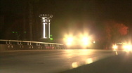 Car Cross Brigde At Night Stock Footage