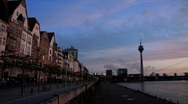 Stock Video Footage of Germany Dusseldorf promenade at river Rhein