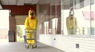 Chicken Pushing Shopping Cart Stock Footage