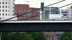 Stock Video Footage of Germany Dusseldorf Highway bridge over Rhein