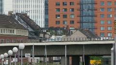 Germany Dusseldorf Highway bridge over Rhein Stock Footage
