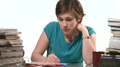 frustrated woman with homework - stock footage