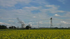 Electric power plant, Rape oil field Stock Footage