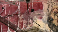 Dripping puddles. Graffiti reflections. Stock Footage