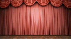 Red stage curtain opening. - stock footage
