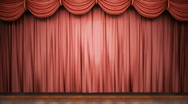 Stock Video Footage of Red stage curtain opening.