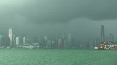 Time Lapse Of Rain Storm Over Hong Kong Stock Footage
